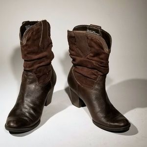 Connie Shoes - Connie Brown Leather & Suede Boots Size 8.5